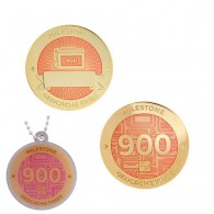 Milestone Geocoin and Tag Set - 900 Finds (2 Trackables)
