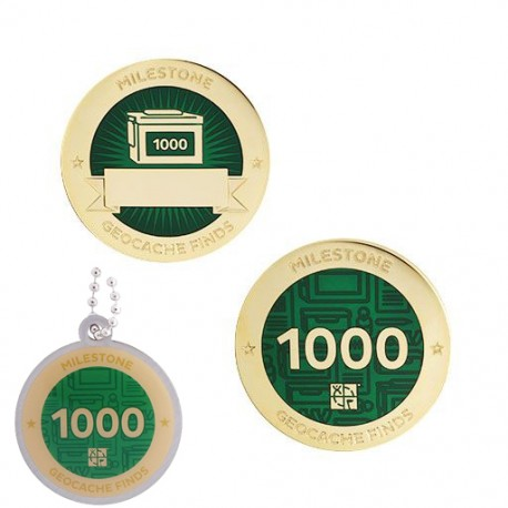 Milestone Geocoin and Tag Set - 1000 Finds (2 Trackables)