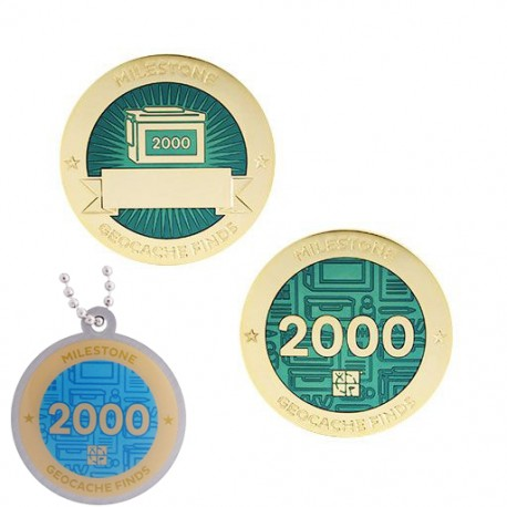Milestone Geocoin and Tag Set - 2000 Finds (2 Trackables)