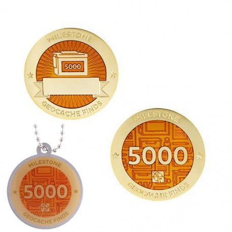 Milestone Geocoin and Tag Set - 5000 Finds (2 Trackables)