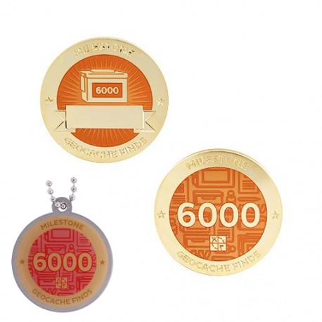 Milestone Geocoin and Tag Set - 6000 Finds (2 Trackables)