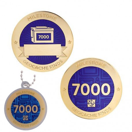 Milestone Geocoin and Tag Set - 7000 Finds (2 Trackables)