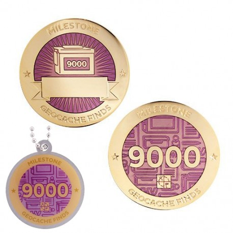 Milestone Geocoin and Tag Set - 9000 Finds (2 Trackables)