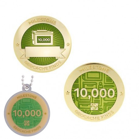 Milestone Geocoin and Tag Set - 10,000 Finds (2 Trackables)