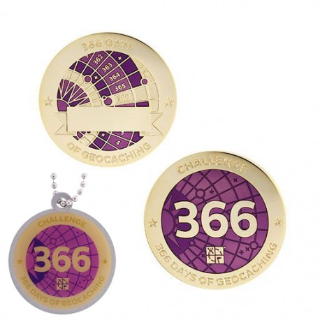 Challenges Geocoin and Tag Set - 366 Days of Geocaching (2 Trackables)