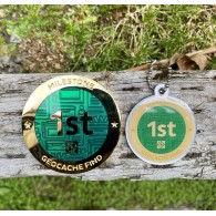 Milestone Geocoin and Tag Set - 1st Find (2 Trackables)