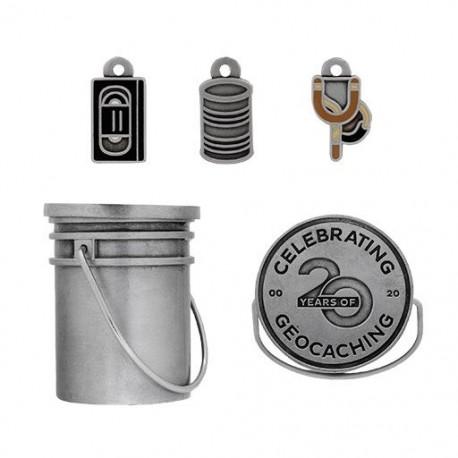 Original Stash Bucket Geocoin Set - (4 Trackables)