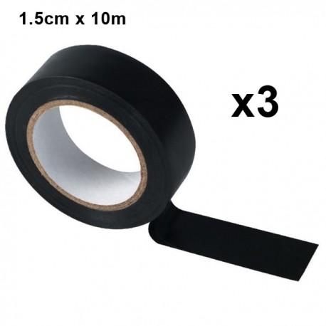Ruban adhésif 1.5cm x 10m - Noir Lot de 3