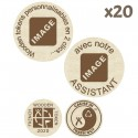 Wooden Tokens avec assistant - Lot de 20