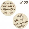 Wooden Tokens personnalisés - Lot de 100