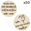 Wooden Tokens personnalisés - Lot de 50