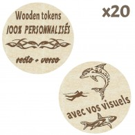 Wooden Tokens personnalisés - Lot de 20