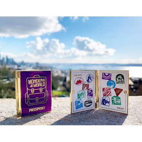 Wonders of the World Natural and Solar System Passport Geocoin and Trackable Tag Set - (2 Trackables)