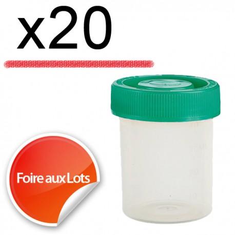 Micro Bouchon vissant 80ml Couvercle vert - Lot de 20