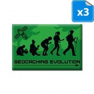 "Badge Rectangle ""GEOCACHING EVOLUTION"" - Lot de 3"