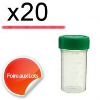 Micro Bouchon vissant 50ml Couvercle vert - Lot de 20