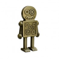 "Géocoin Steampunk ""BIG"" Robot - Antique Bronze"