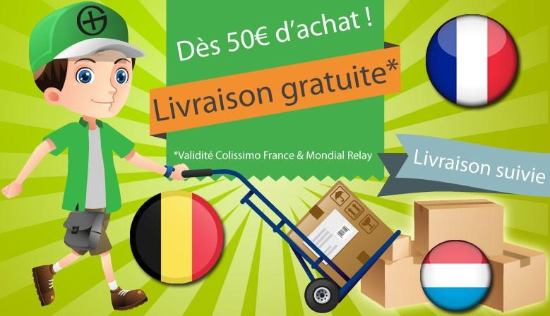 LIVRAISON GRATUITE DÈS 50€ D'ACHAT (validité Colissimo France & Mondial Relay France, Belgique & Luxembourg)