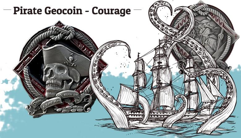"""Découvrez le nouveau géocoin """"Pirate"""", une superbe pièce en 3D sur les deux faces"""