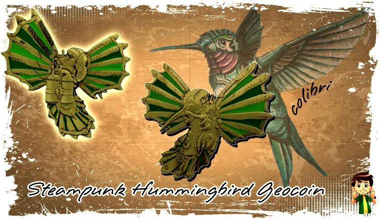 Découvrez le magnifique Steampunk Hummingbird Geocoin