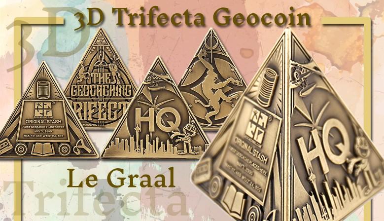 La pyramide : le géocoin 3D Trifecta, Graal des géocacheurs